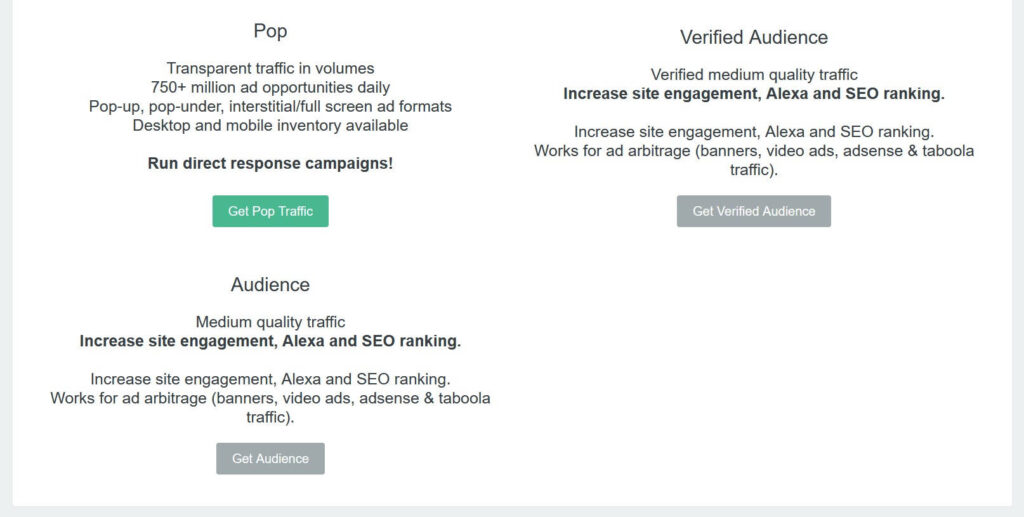 Pop, audience and verified campaigns